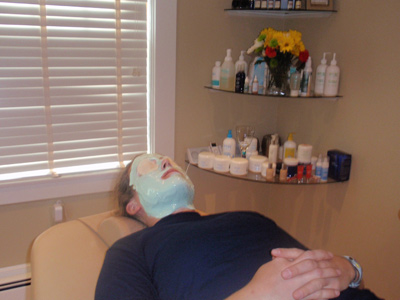 man getting facial at Body Sense