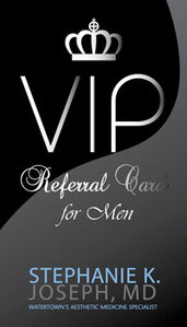 Providing referral cards to female clients to bring to the men in their lives can result in an increased male clientele.