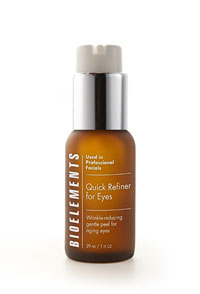 Bioelements new Quick Refiner for Eyes simultaneously removes dead and dulling skin cells, speeding up cell turnover as it hydrates, soothes, strengthens and protects.