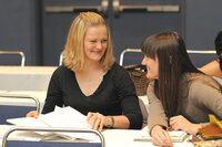 two students laughing