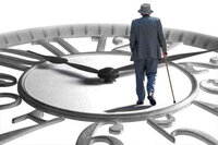 old man walking on clock face