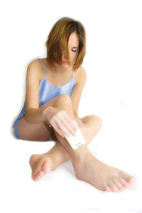 girl practicing hair removal