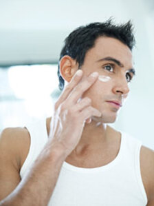 male professional skin care client