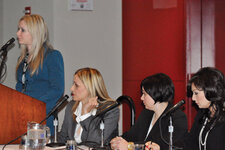 "Medical Esthetics Summit panelists, bottom, from left, Terri Wojak; Manon Pilon; Jennifer Wild, DO; and Colleen Shiamoto discussed ""The Blending of Physicians with Estheticians."""