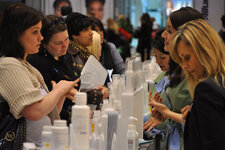 The show floor was crowded with attendees sampling and doing one-on-one business with suppliers.