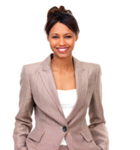 Smiling woman in a business suit