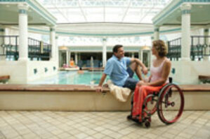 The Royal Caribbean cruise line follows the lead of the ADA accessibility guidelines for land-based facilities, resulting in leading-edge spas that are available for all clients, disabled or otherwise.