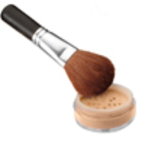 Makeup brush and ColorStrokes Cosmetics AM-Clear Sun Protection Powder