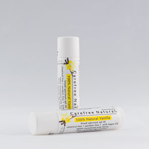 Carefree Natural's SPF 30 Untinted Vanilla with Stevia Lip Balm