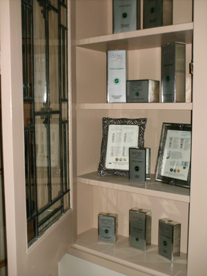 cabinet filled with awards at Colonial House Day Spa