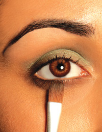 closeup of eye makeup application