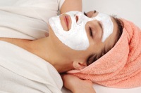 woman in facial mask