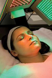 Woman receiving LED treatment