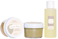 Farmhouse Fresh's Buffalo Greens Salt Scrub, Cactus Toning Wrap and Soothing Agave Nectar