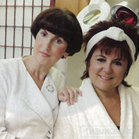 From left: Renaissance owner Anna Golub with cancer patient Linda Salvato.