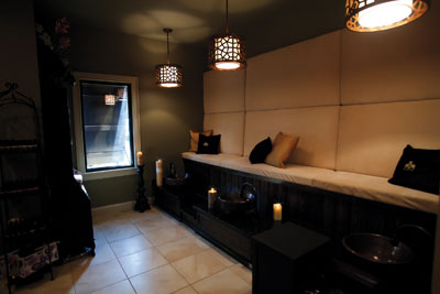 The peaceful manicure/pedicure area can be closed off from the rest of the spa to ensure privacy.