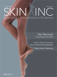 February 2012 cover of Skin Inc. magazine
