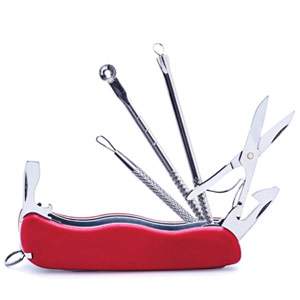 Acne tools in a Swiss Army knife