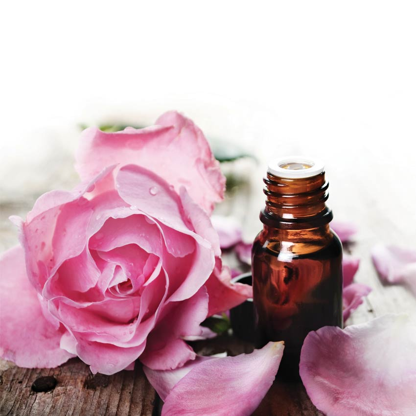 Rose and essential oil bottle