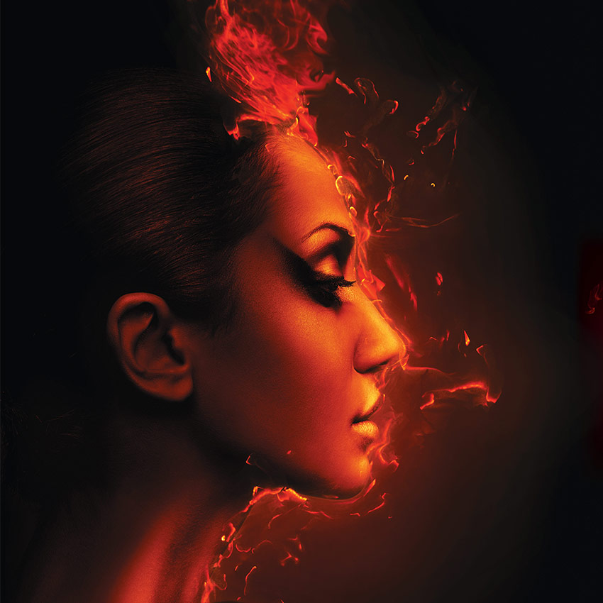 Woman with face on fire