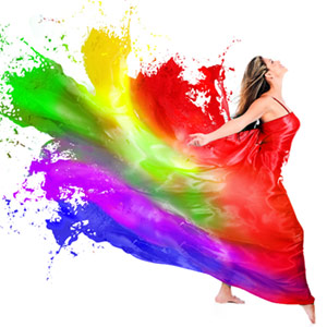 Woman with rainbow dress