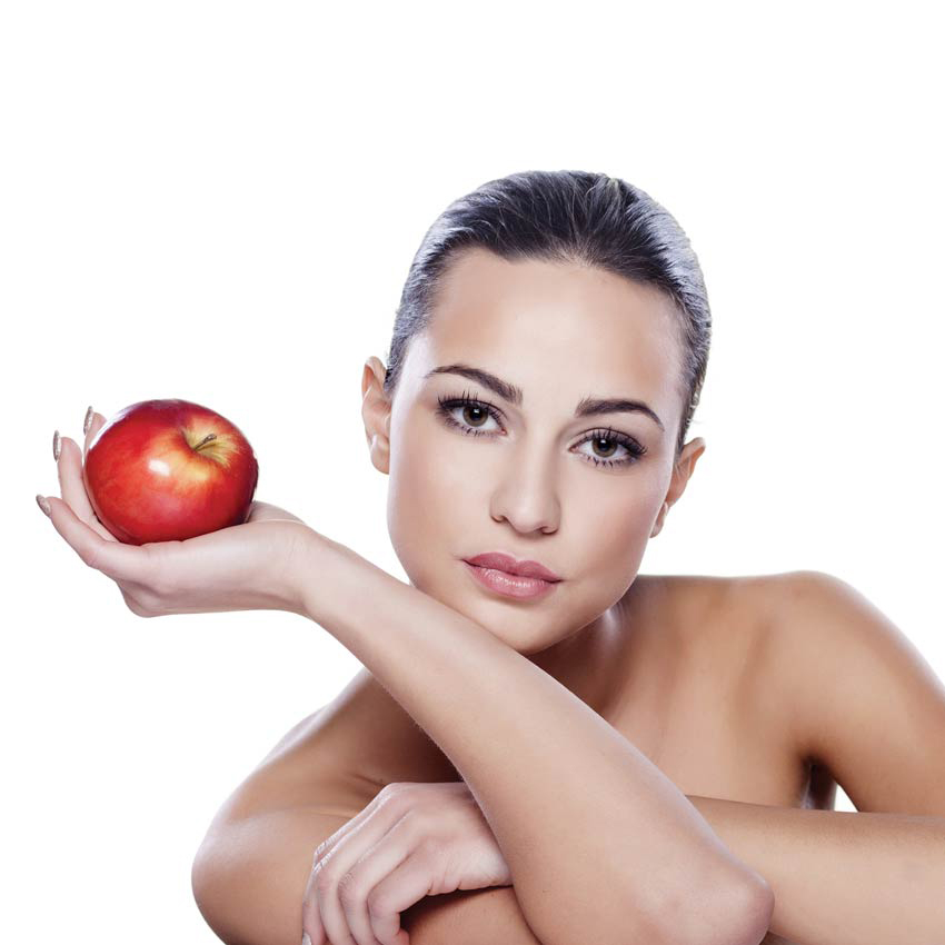 Woman with an apple.