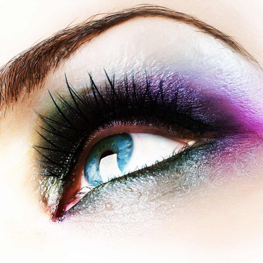 Woman with colorful eye makeup