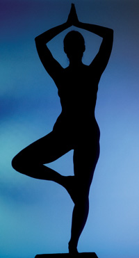 silhouette in yoga pose