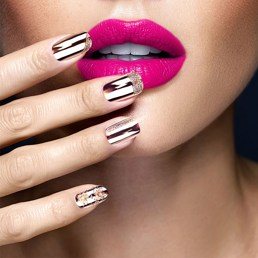 Samantha Cham NYC's Diamond Gold Nails