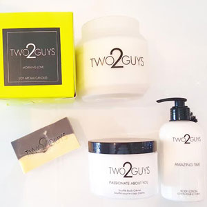 Two2Guys' Eco-Friendly Soy Candles, Soap, Body Soufflé and Body Lotion