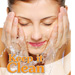spa client washing her face