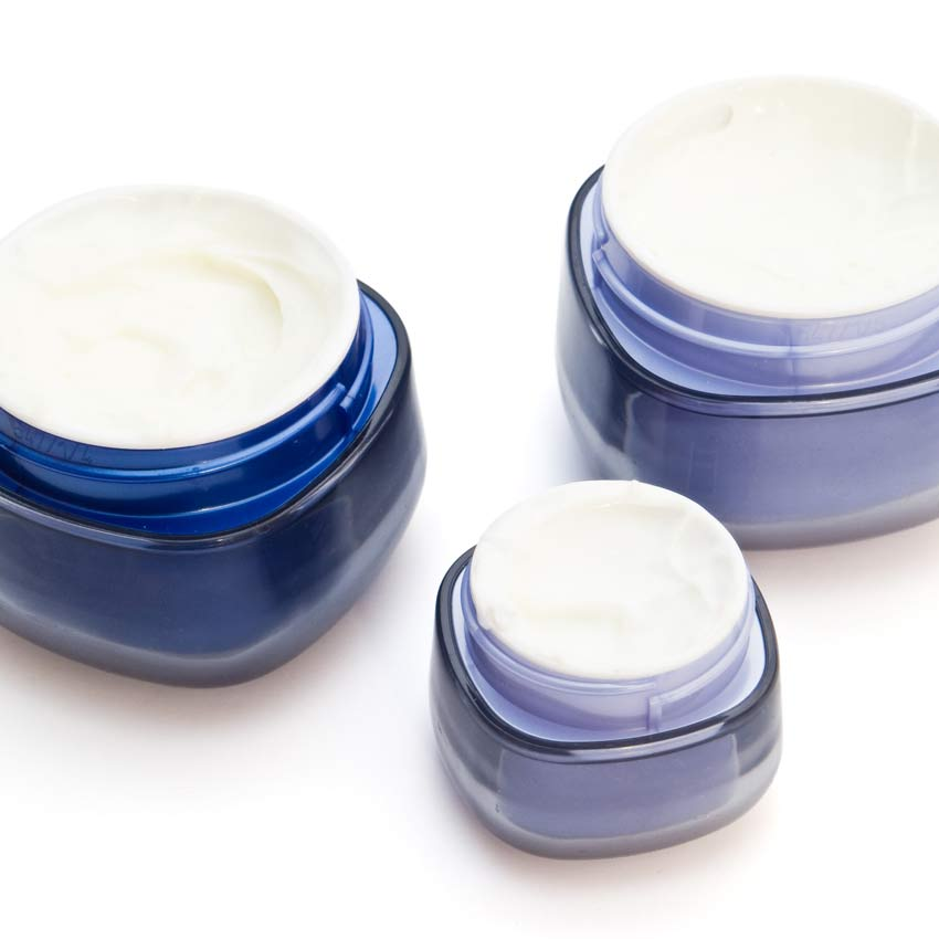 Jars of skin cream