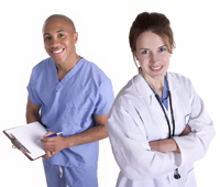 Male and female physicians smiling