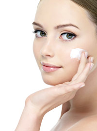 skin care client using professional retinoid-based cream