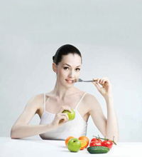woman eating heathy food