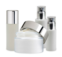 bottles and jars of professional spa products