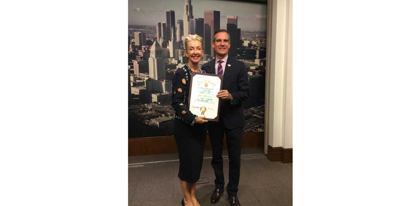 Jane Wurwand, co-founder of Dermalogica and Mayor Eric Garcetti