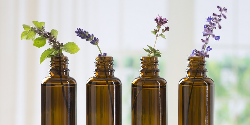 A bottle of essential oils