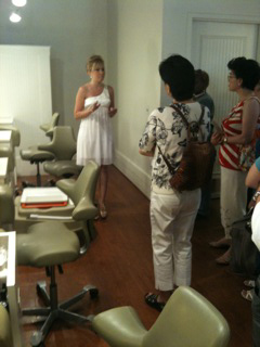 Anna White, manager of InSpa Santana Row shows the spa pedicure area.