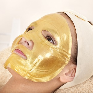 A gold facial mask