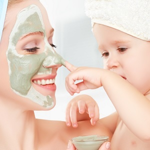 A mother and child at a spa