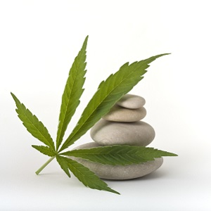 Pot leaf and spa stones