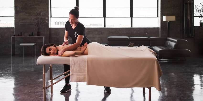 Someone receiving a soothe massage