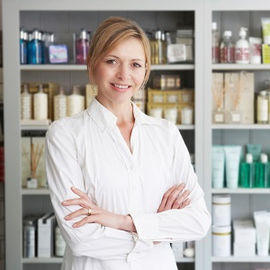 A beauty professional selling products