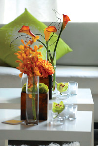 flowers in spa lounge