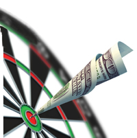 money dart on dartboard