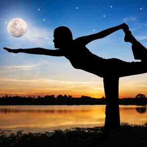 Yoga under a full moon