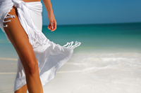 white sarong on beach
